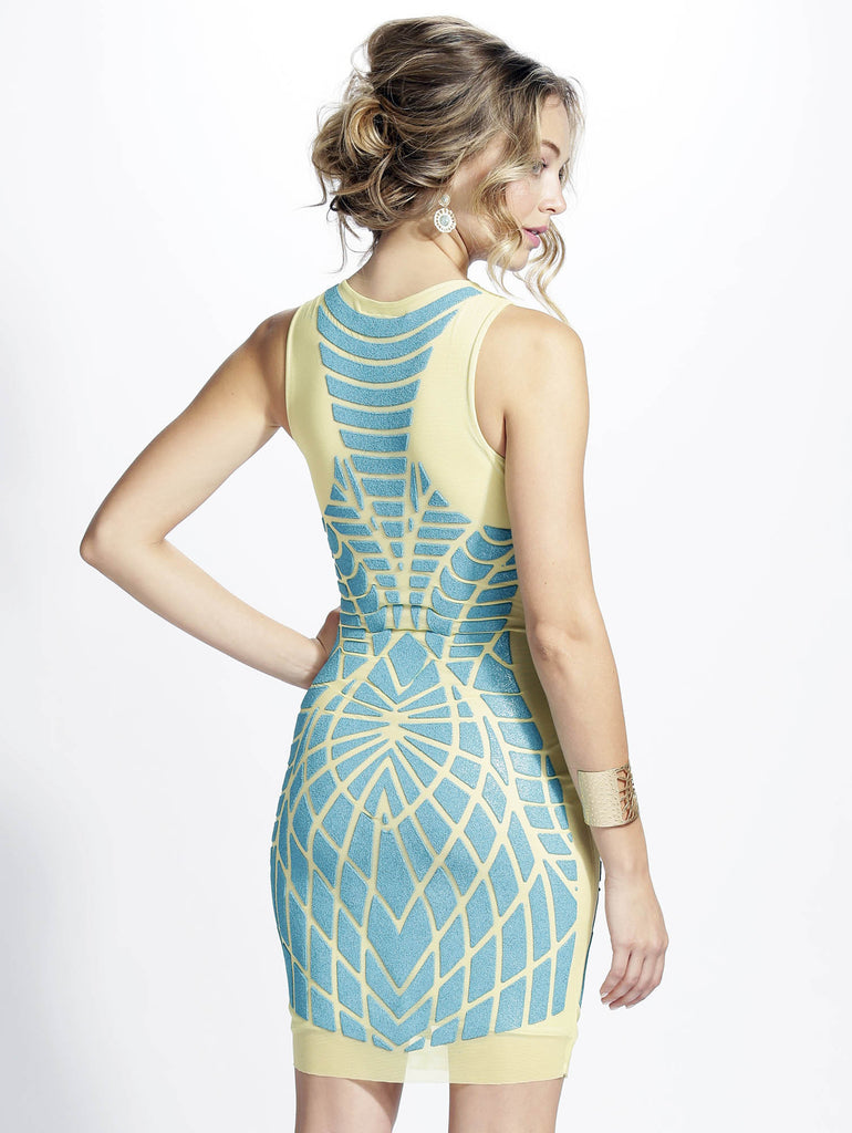 Pinar Teal Painted Baccio Couture Dress