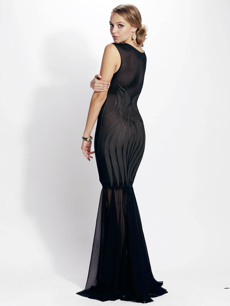 Sibel Mesh Painted Long Baccio Couture Gown