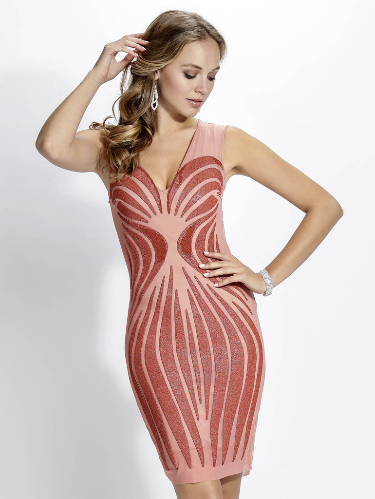 Sibel Coral Painted Baccio Couture Dress