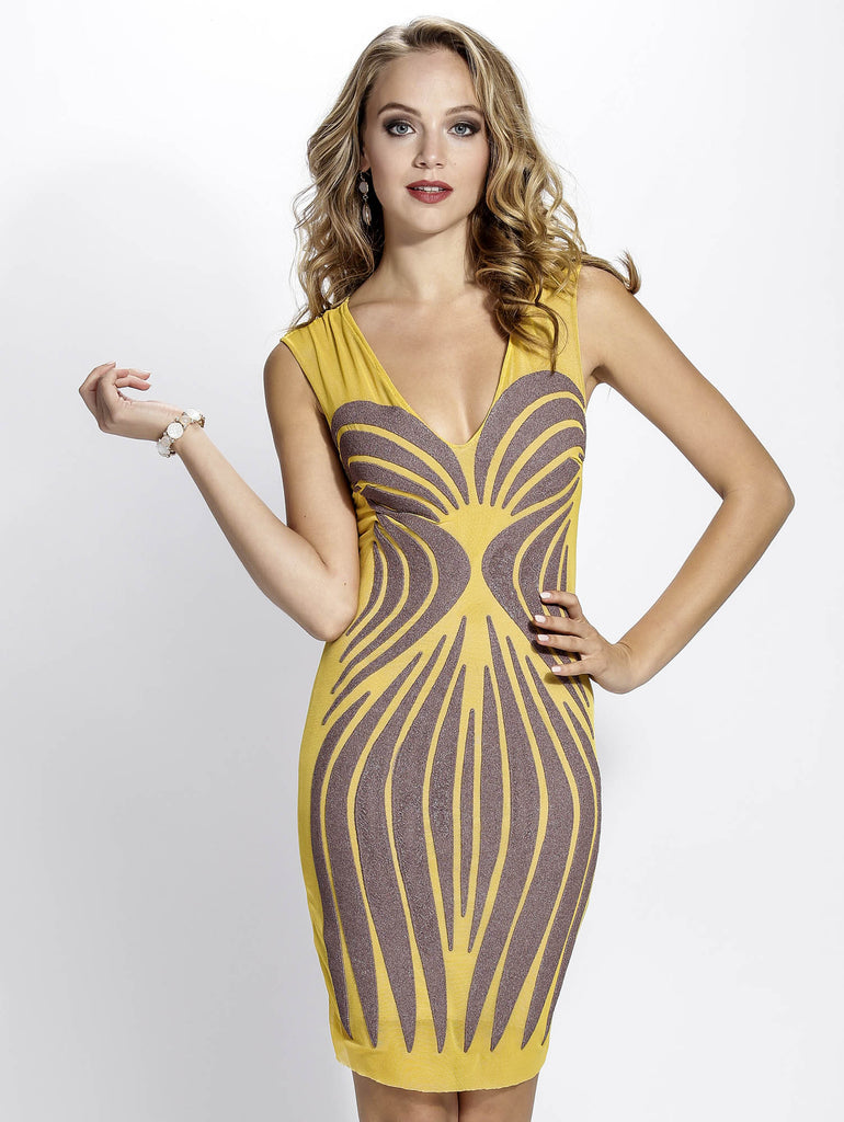 Sibel Yellow Painted Baccio Couture Dress
