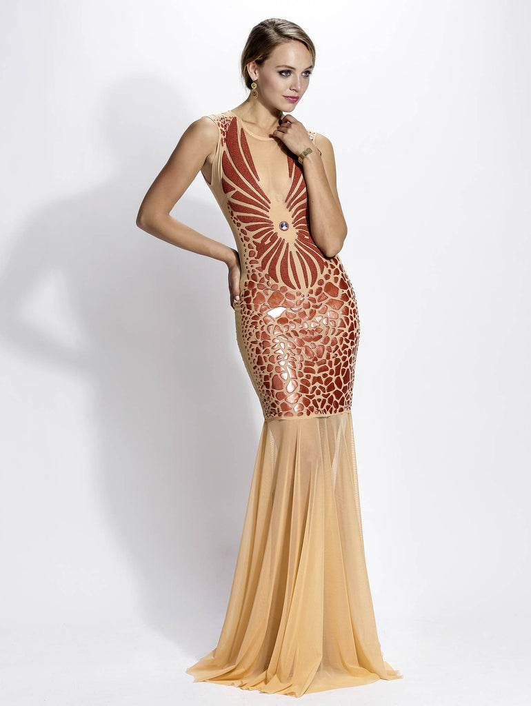Wings Mesh Painted Long Baccio Couture Gown
