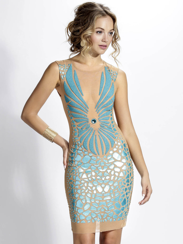 Wings Nude Teal Baccio Couture Dress