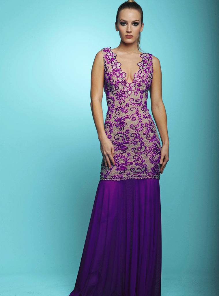 Molly Purple Painted Long Baccio Couture Gown