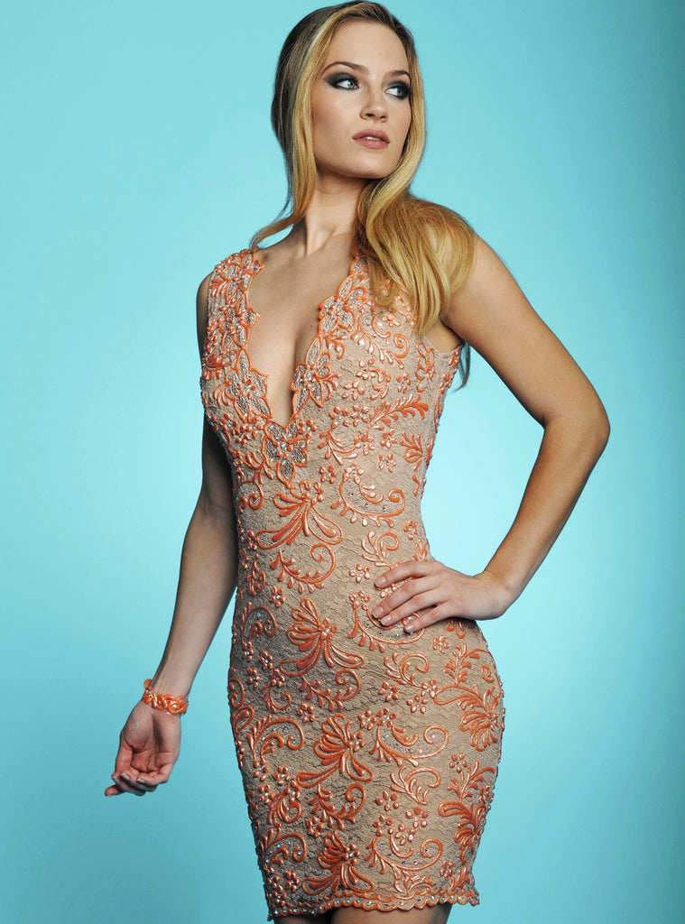 Molly Nude Orange Painted Long Baccio Couture Dress