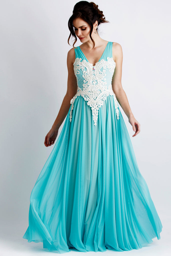 Princess Painted Caviar Light Blue Baccio Couture Gown