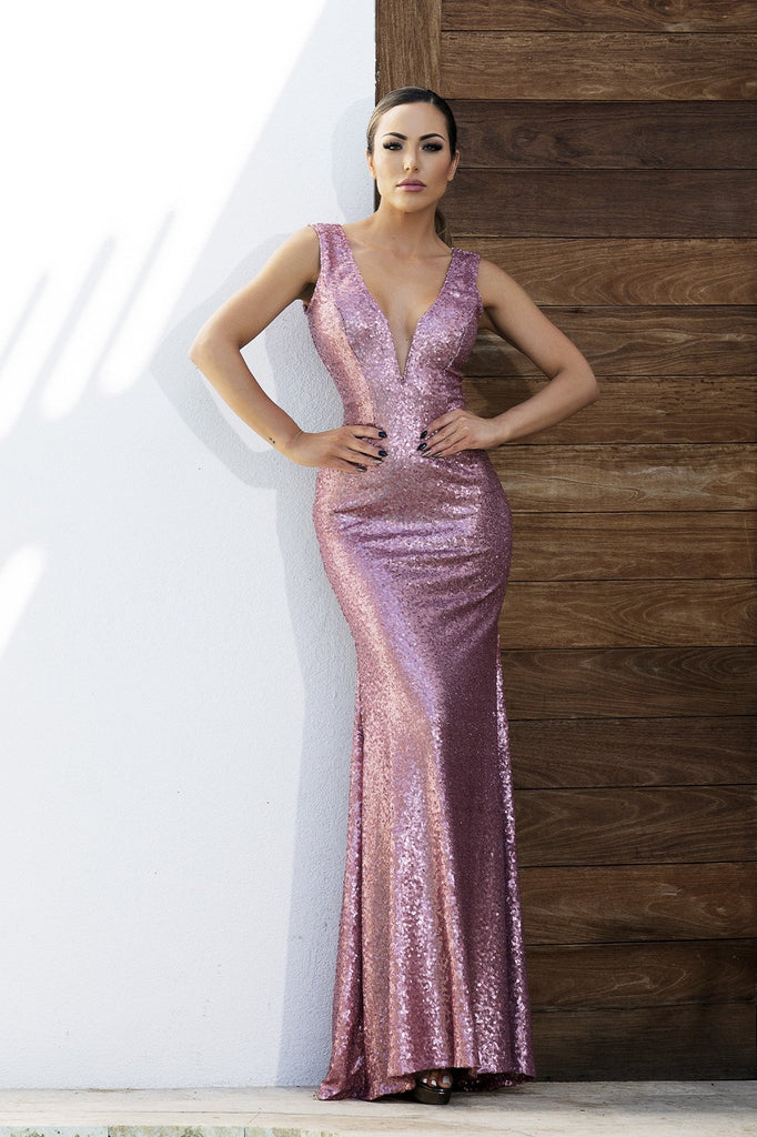 Roma Sequin Pink Baccio Couture Gown