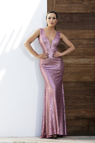 Alba Metallic Black Baccio Couture Gown