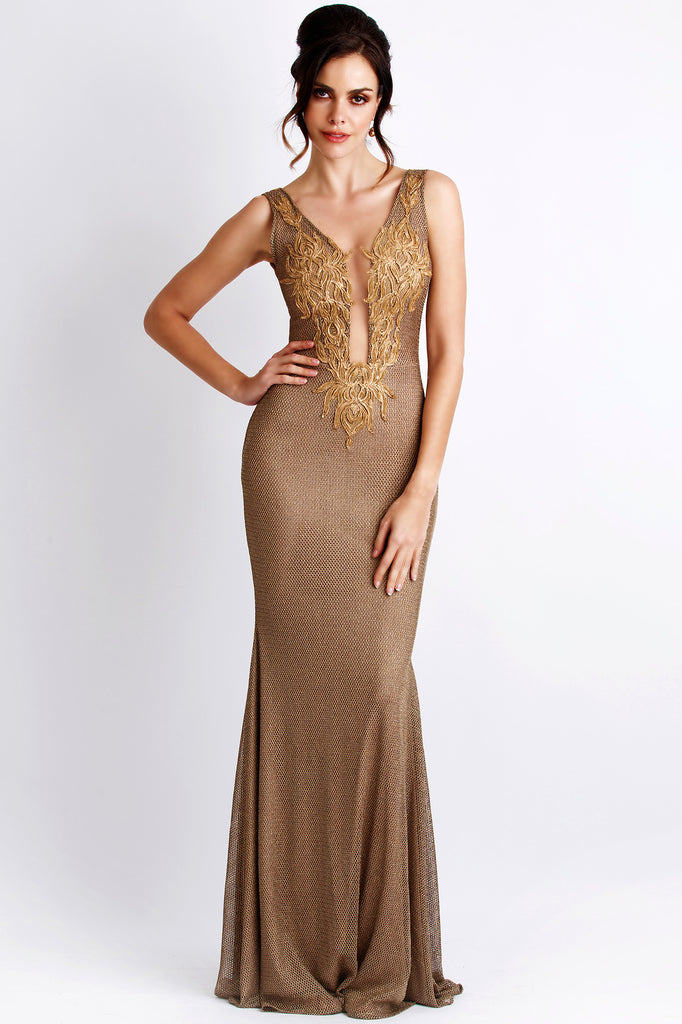 Roxy Painted Gold Baccio Couture Gown