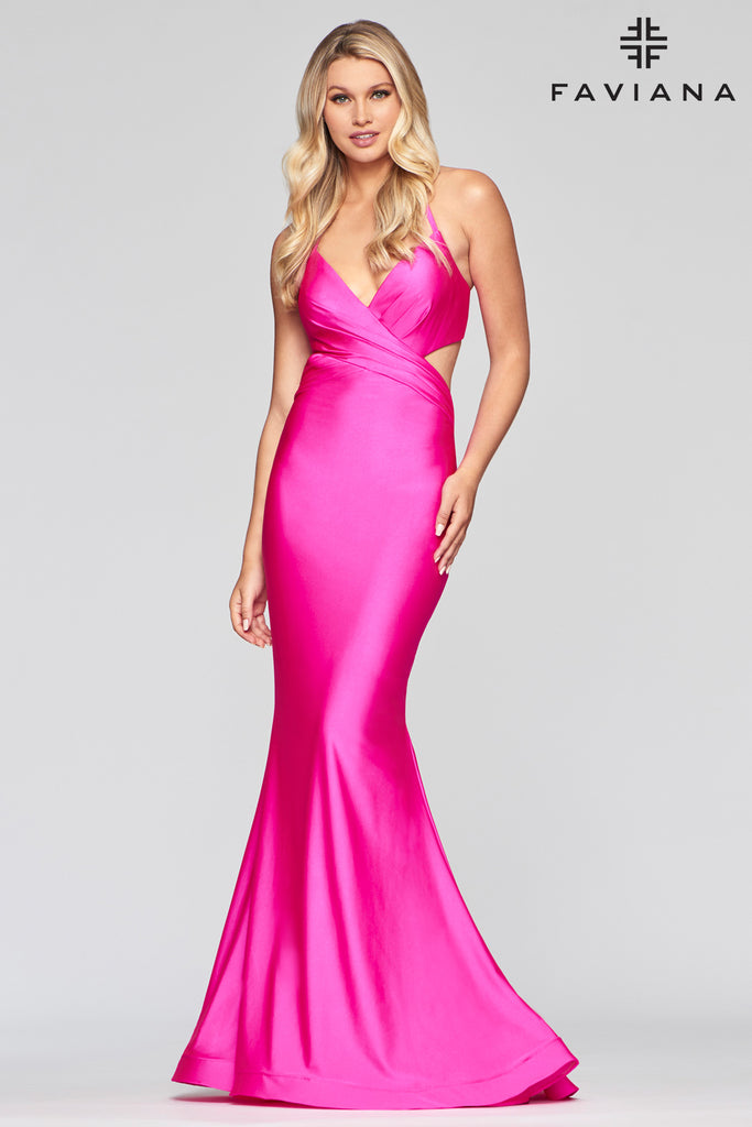 Faviana S10448 Long stretch charmeuse dress w/ deep v halter neckline, side & back bodice cut-outs; fit-to-flare skirt has v back waist & invisible zipper