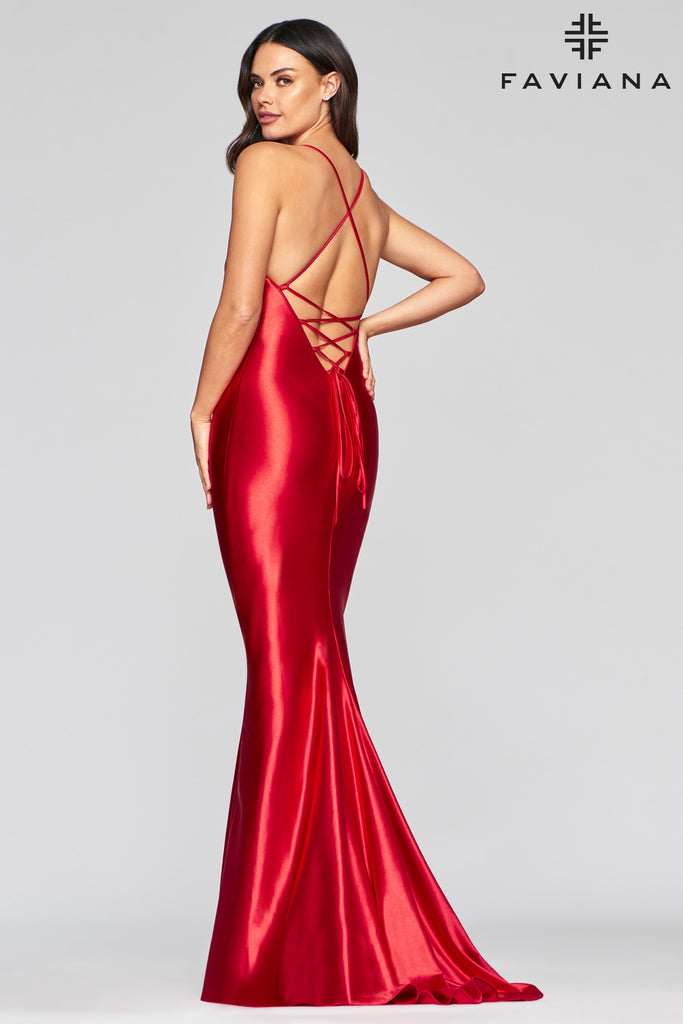 Faviana S10457 Long stretch satin dress with plunging neckline and x strap back details