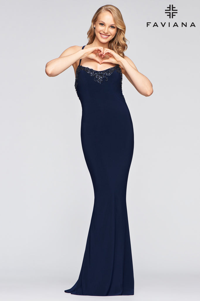 Faviana S10468 Long stretch jersey dress with halter neck band and open strap back; embroidery at front, side and back; fit to flare skirt; invisible zipper hook & eye