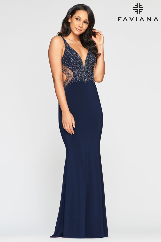 Faviana S10470 Long stretch jersey dress with beaded bodice, back and side cut-outs; fit-to-flare skirt with invisible zipper and hook & eye closures