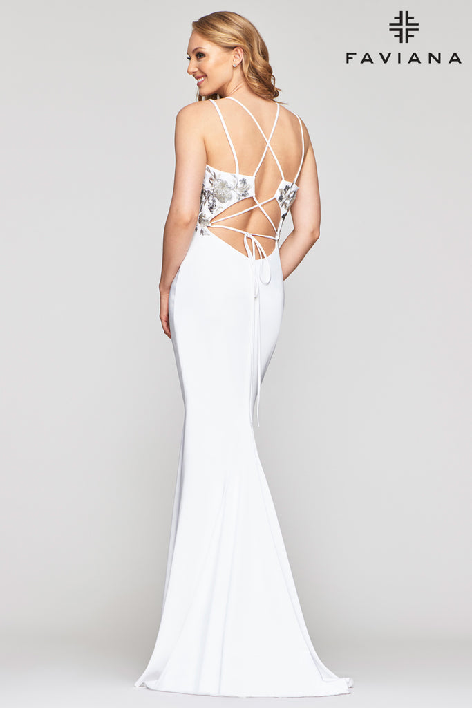 "Faviana S10475 Long stretch faille satin dress w/ plunging illusion ""v"" neckline; princess seamed bodice, double spaghetti strap adjustable-fit lace-up back & scooped waist; center back invisible zipper; sweep train"