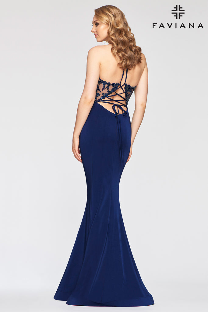 Faviana S10476 Long stretch faille satin v-neck dress with applique bodice; lace-up back, invisible zipper hook & eye