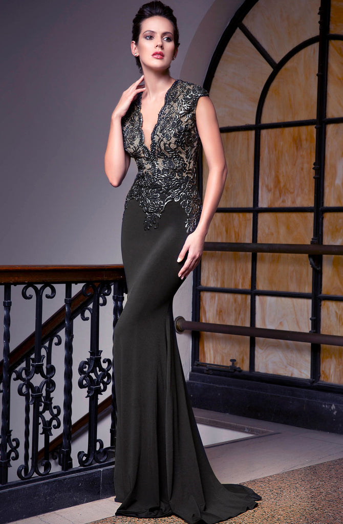 Sabrina Painted Jersey Long Dress Baccio Couture