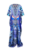 Python Blue Printed Lace Up Caftan Long Parides Dress