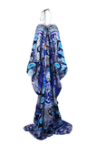 Python Blue Printed Lace Up Kaftan Long Parides Dress