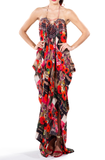 Poppy Red Floral Printed Kaftan Long Parides Dress