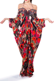 Poppy Red Floral Printed Caftan Long Parides Dress
