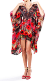 Poppy Red Lace Up Caftan Short Parides Dress
