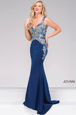 JOVANI 36971 EMBELLISHED NECK PROM DRESS