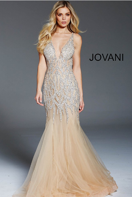 Nude Silver Crystal Embellished Sleeveless Jovani Formal Dress 59717