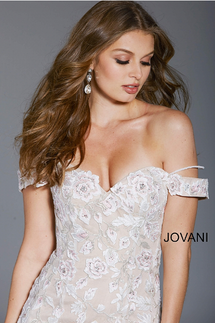 Pink Floral Embroidered Off the Shoulder Jovani Evening Dress 55716