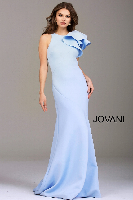 Light Blue Fitted Scuba Ruffle Shoulder Jovani Evening Dress 50479