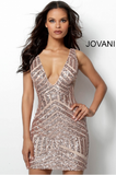 Form Fitting Embellished Plunging Neck Jovani Short Dress 63899