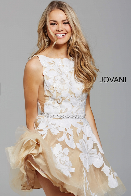 Nude White Sequin Embellished fit and Flare Jovani Short Dress 57950