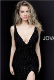 Black Fitted High Slit Feather Jovani Evening Dress 63450