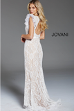Ivory Nude V Neck Open Back Lace Formal Jovani Dress 60314