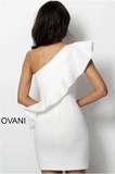 White Ruffle One Shoulder Fitted Jovani Cocktail Dress 63580
