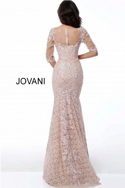 b29385494e0 Champagne Embroidered Fitted Long Sleeve Jovani Evening Dress 47754
