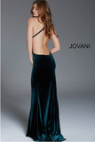 Emerald Fitted Backless Velvet Jovani Formal Dress 60527