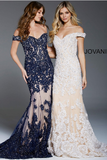 Navy Nude Off the Shoulder Embellished Jovani Evening Dress 55907