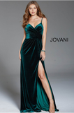 Green Spaghetti Straps V Neck Velvet Jovani Dress 60777