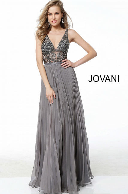 Charcoal Embellished Bodice Plunging Neckline Jovani Evening Dress 61105