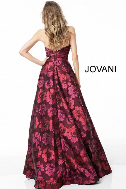Burgundy Strapless Pleated Bodice Jovani Evening Gown 60050