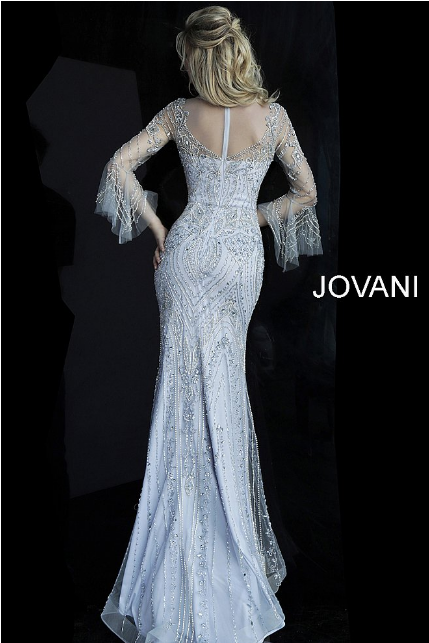Grey Beaded Sheer Neckline Fitted Jovani Evening Dress 60827