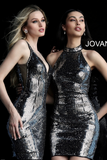 Black Silver Plunging Neckline Fitted Jovani Cocktail Dress 65169