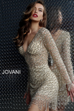 Gold Fully Embellished Long Sleeve Jovani Cocktail Dress 61784