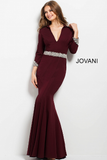 Burgundy Fitted Three Quarter Sleeve Jovani Evening Dress 52091