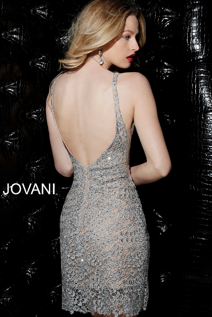Grey Nude Lace Fitted Jovani Short Dress 62023