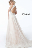 White Nude Embroidered Sheer Bodice Jovani Evening Gown 37504