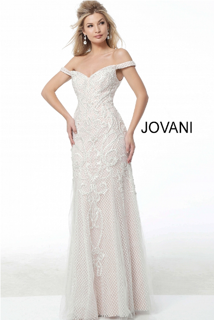 White Nude Off the Shoulder Embellished Jovani Evening Dress 53077