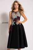 Black Fit and Flare Floral Appliques Jovani Contemporary Dress 23695