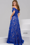 Royal and Nude Off The Shoulder Lace Jovani Ballgown 42828