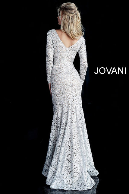 Silver Lace V Neck Long Sleeve Jovani Evening Dress 61887