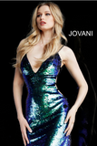 Multi Sequin Fitted V Neck Jovani Short Dress 60931